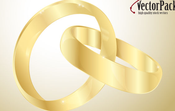 Wedding gold rings - Free vector #175267