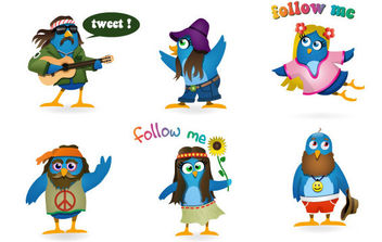 Woodstock Twitter Icons set - vector gratuit #175387