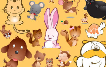 Cartoon Pets Vectors - vector gratuit #175437