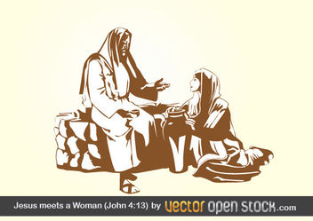 Jesus meets a Woman (john 4:13) - бесплатный vector #175987