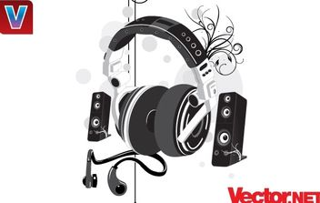 Music Headphone & Speakers - vector gratuit #176137