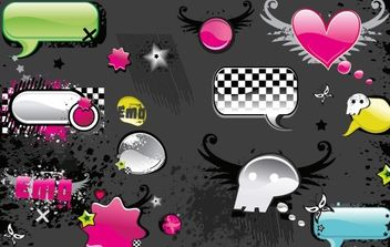 VECTOR MATERIAL ELEMENTS OF THE TREND WEB2.0 - Free vector #176807