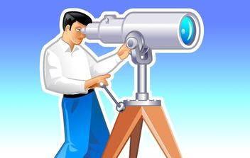 Navigator looks forward through the telescope - Free vector #177647