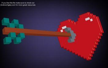 3D Pixel Heart and Arrow - Kostenloses vector #178347