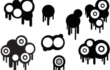 Circles And Drips Set - Kostenloses vector #178577
