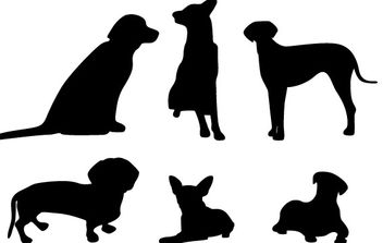 13 Dog Vector Silhouettes - vector gratuit #178647