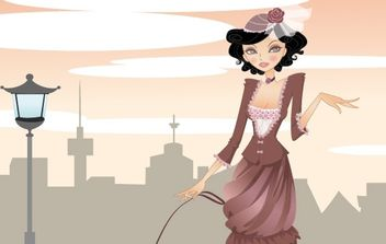 Elegant lady walking in the city - Free vector #178677