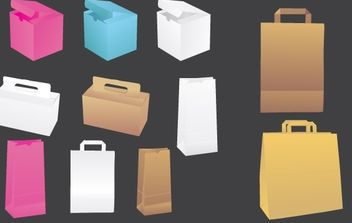 Vector paper bags & boxes - Free vector #178827