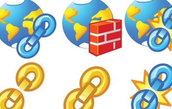 Globe and chain Icons - Free vector #178837