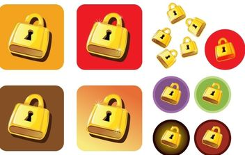 Golden Lock Vector - Free vector #178877