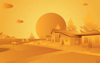 Orange Landscape - Free vector #179457