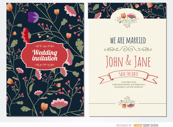 Classy wedding invitation flowers - vector #179527 gratis