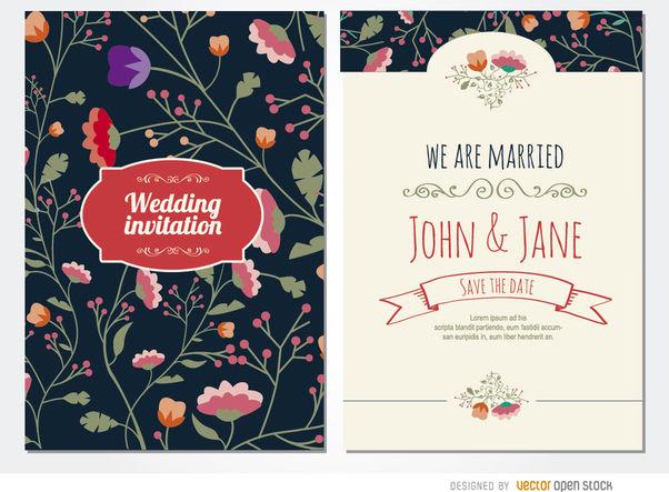 Classy wedding invitation flowers - Free vector #179527