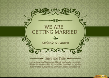 Marriage invitation with floral frame - vector #179567 gratis