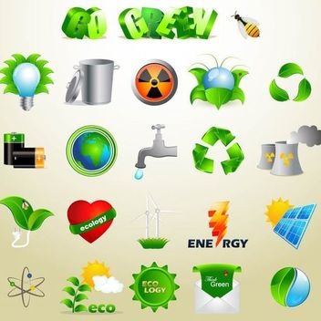 Exclusive Green Ecology Icon Set - Free vector #179597