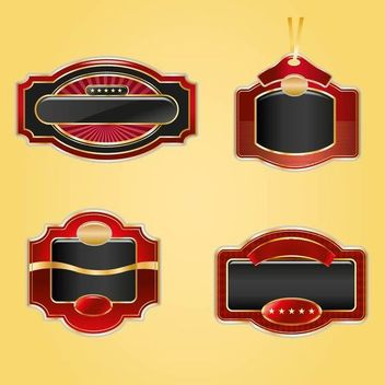 4 Creative Golden and Red Shields - Free vector #179757