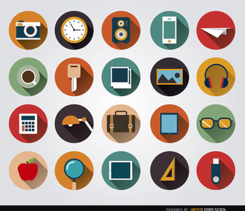 Desk objects circle icons - Free vector #179787