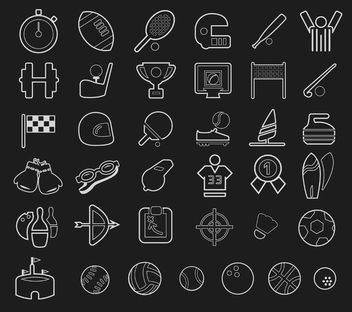 Stroke sport icons set - Free vector #179807