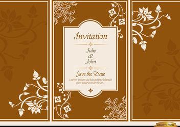 Floral triptych brochure wedding invitation - Free vector #179887