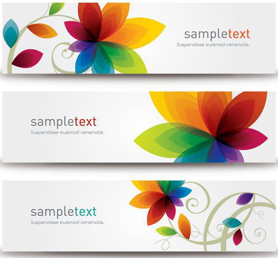 3 Colorful Floral Banner Templates - vector #179897 gratis