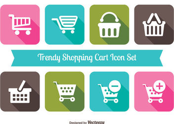 Shopping Cart Icon Squares Pack - Free vector #179937