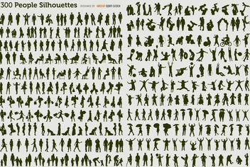 300 people silhouettes - vector #179967 gratis