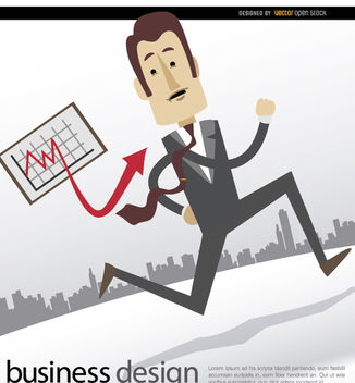Businessman running graph skyline - Free vector #179997