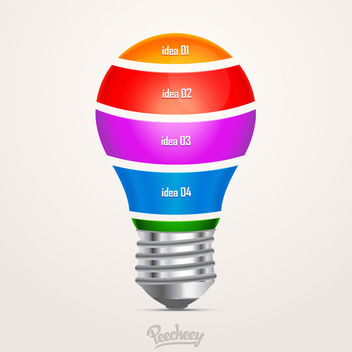 Colorful Light Bulb Infographic - Free vector #180027