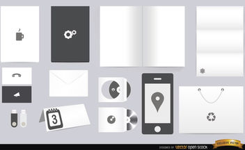 White black stationery elements - Free vector #180067