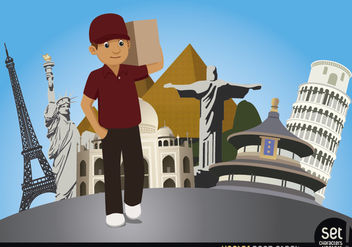 Delivery man with world monuments - vector gratuit #180227