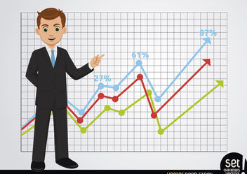 Businessman showing growing charts - vector gratuit #180257
