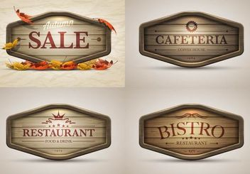 Vintage Autumn Sales and Restaurant Banners - vector gratuit(e) #180487