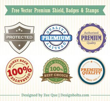 Vintage Premium Shield Badges & Stamps - бесплатный vector #180507