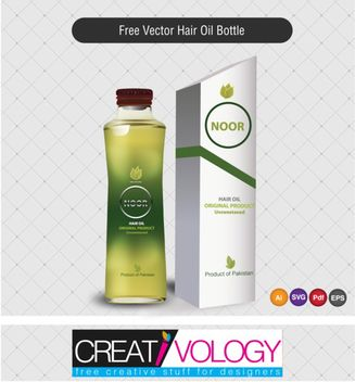 Hair Oil Bottle and Packet - Free vector #180597