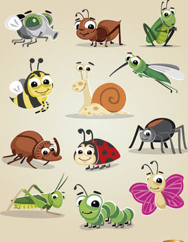 Cartoon bugs icon set - Free vector #180757