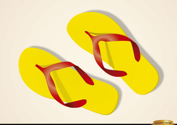 Beach sandals on the sand - Free vector #180767