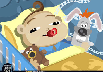Baby falling asleep in cradle - vector gratuit #180917