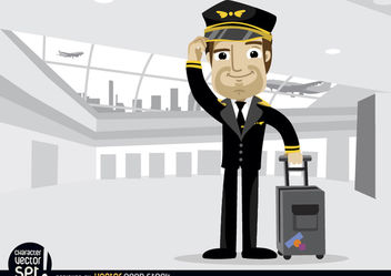 Airplane pilot with baggage in airport - vector gratuit #180937