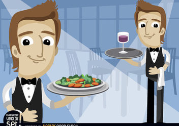 Waiters with salad saucer and wineglass - бесплатный vector #180957