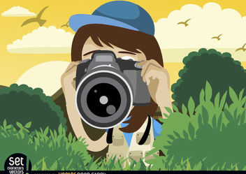 Girl shooting with camera - Free vector #181007