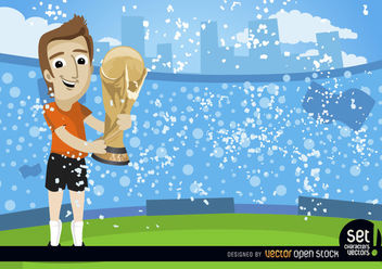 Footballer with FIFA World Cup Trophy - Free vector #181017
