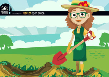 Girl digging with shovel in green field - бесплатный vector #181077