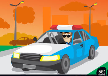 Patrol Car in the City - Free vector #181087