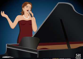 Girl Singer Performing Behind a Piano - Free vector #181097