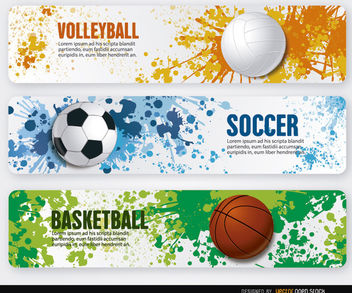 Volleyball basketball soccer grunge banners - vector #181187 gratis