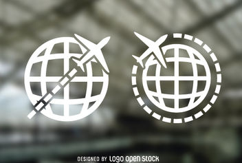 Globe Airplane Travel Logos - vector gratuit #181347
