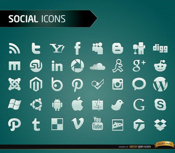 40 Social media icons - vector #181447 gratis