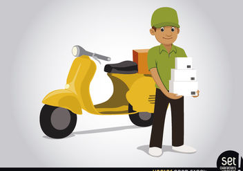 Delivery man with motorcycle - Free vector #181547