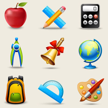 Glossy Realistic Education Icon Pack - Free vector #181617