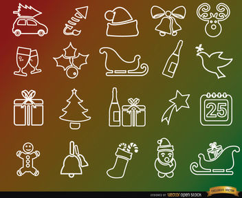 20 Christmas holidays line icons - Free vector #181657